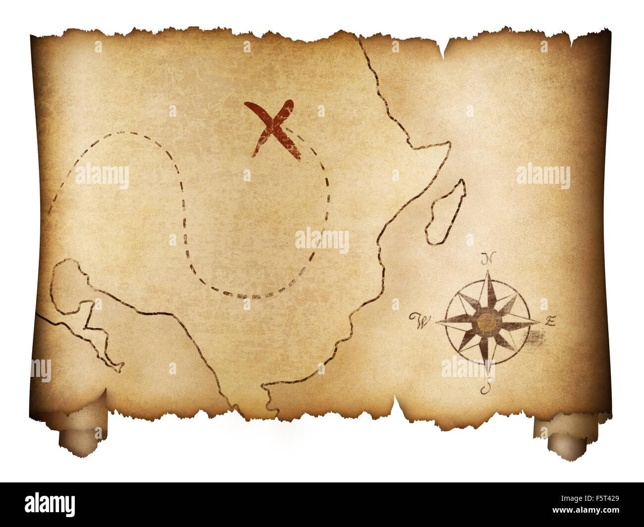 Préféré La vieille carte au trésor des pirates isolés de rouleau Banque D #QG_25