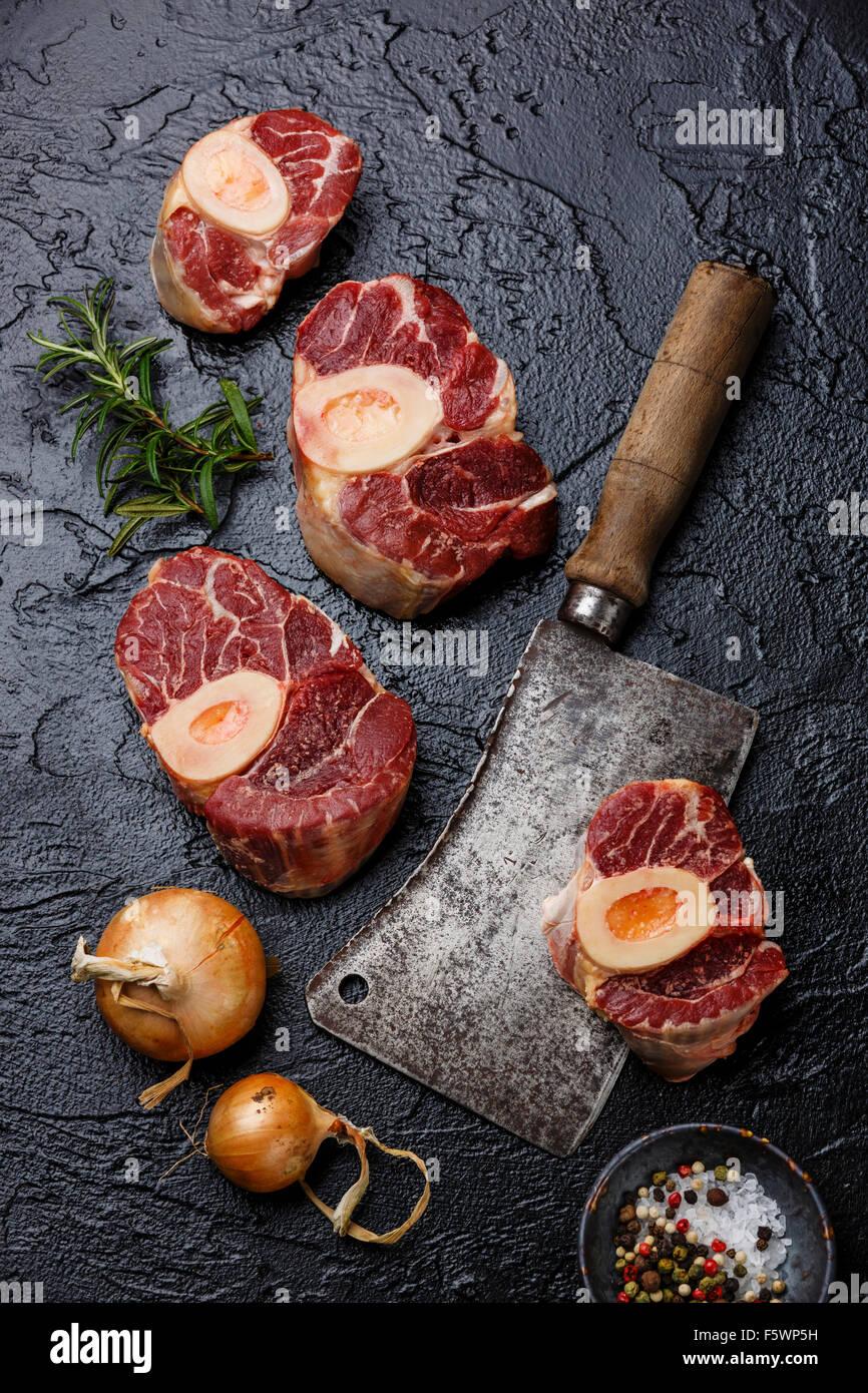Frais de matières premières et de la queue de veau coupe croisée pour la fabrication d'ingrédients Photo Stock