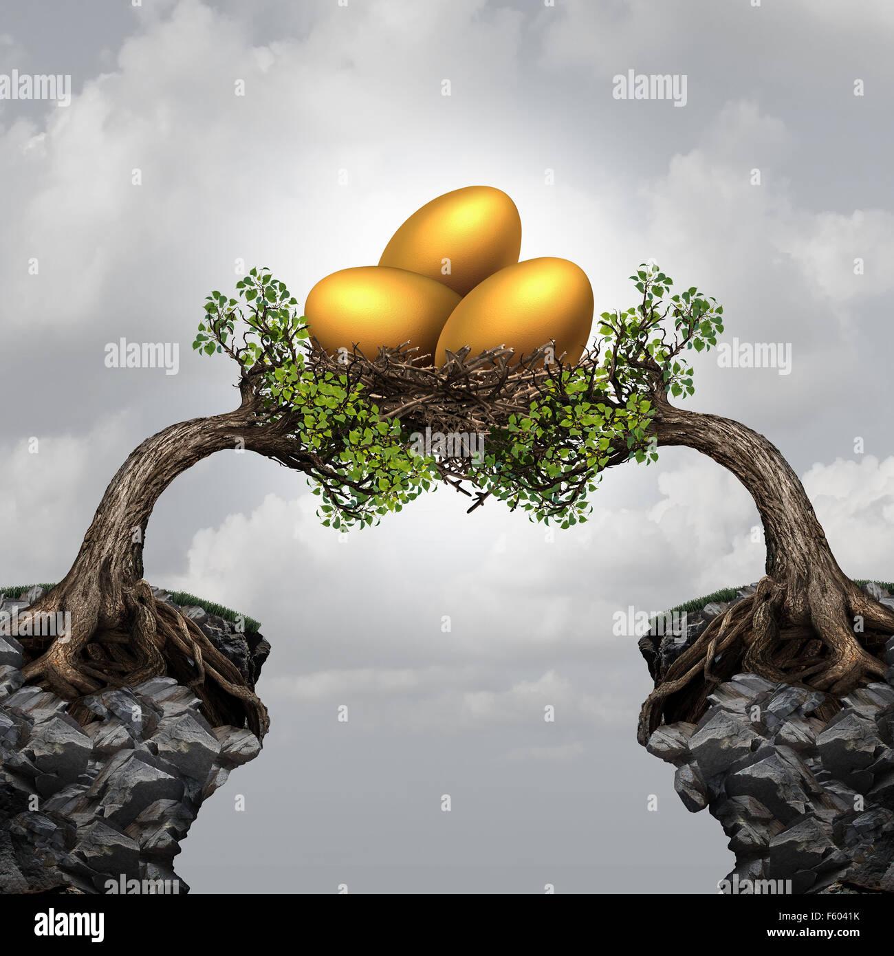Investment group and securitty concept d'entreprise comme deux arbres éloignés sur les falaises qui Photo Stock