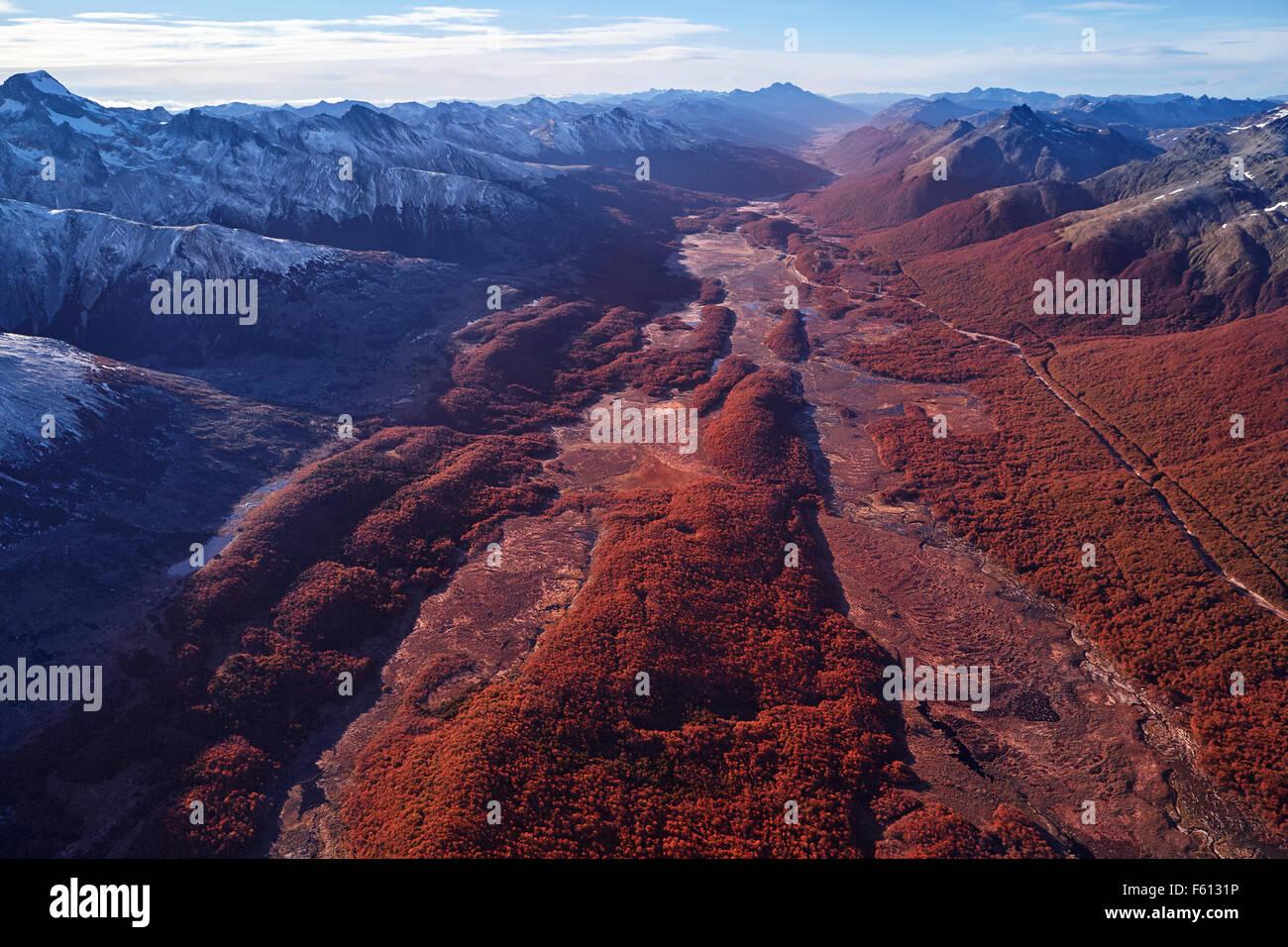 Vue aérienne de tourbière, Tierra del Fuego National Park, l'Argentine Photo Stock