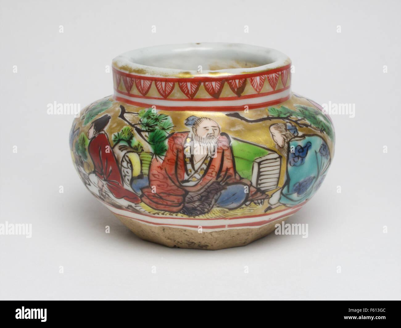 Meubles anciens en porcelaine vase japonais squat Photo Stock