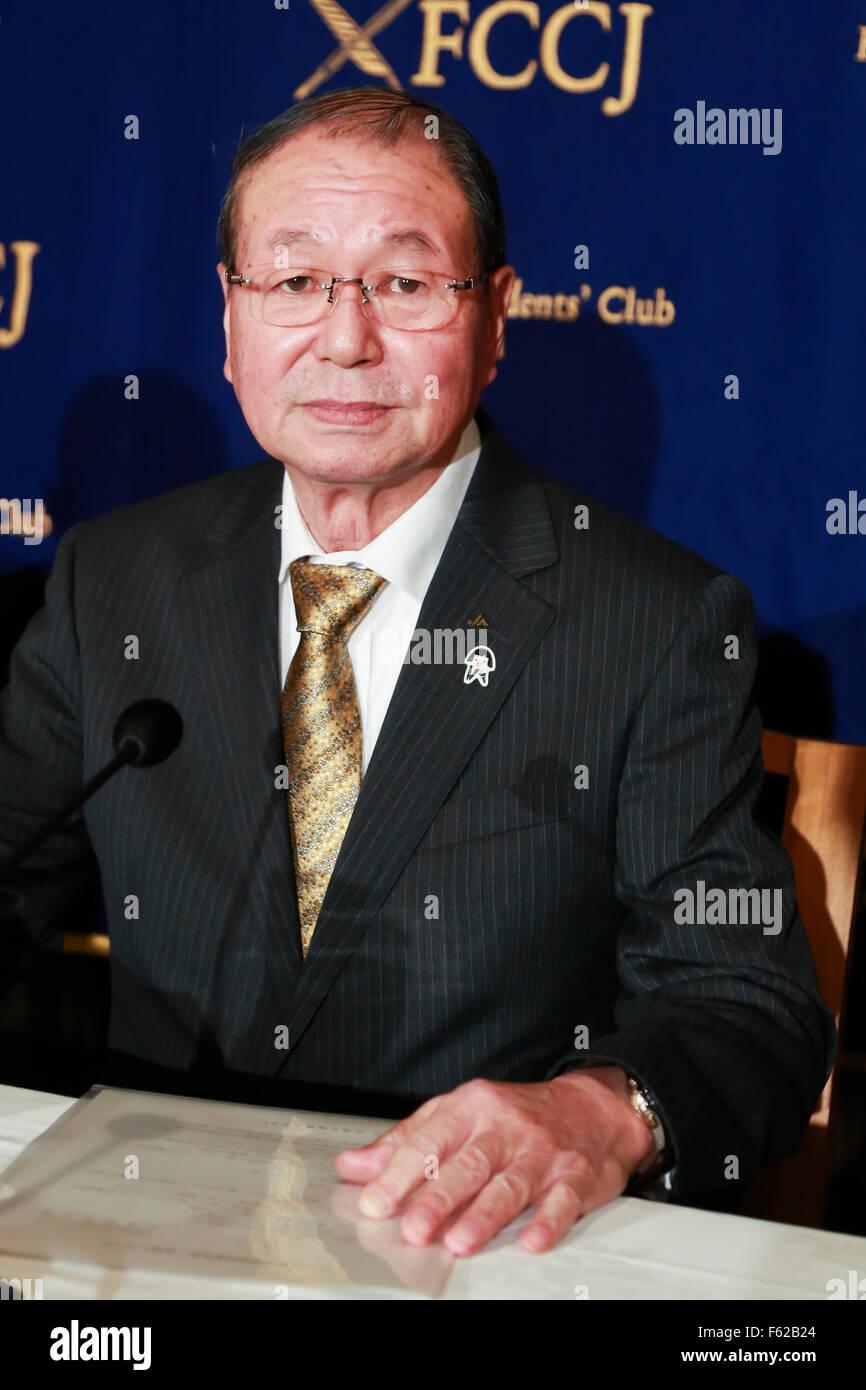 Tokyo, Japon. 10 Nov, 2015. Choe Okuno Président de JA Zenchu (les Japonais Union centrale des coopératives Photo Stock