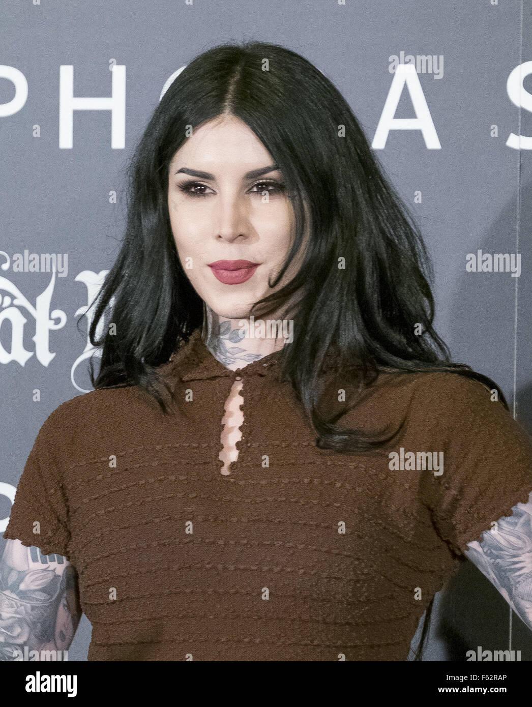 Artiste de tatouage Kat Von D présente sa nouvelle ligne de maquillage Sephora au Cines Callao City Lights Photo Stock