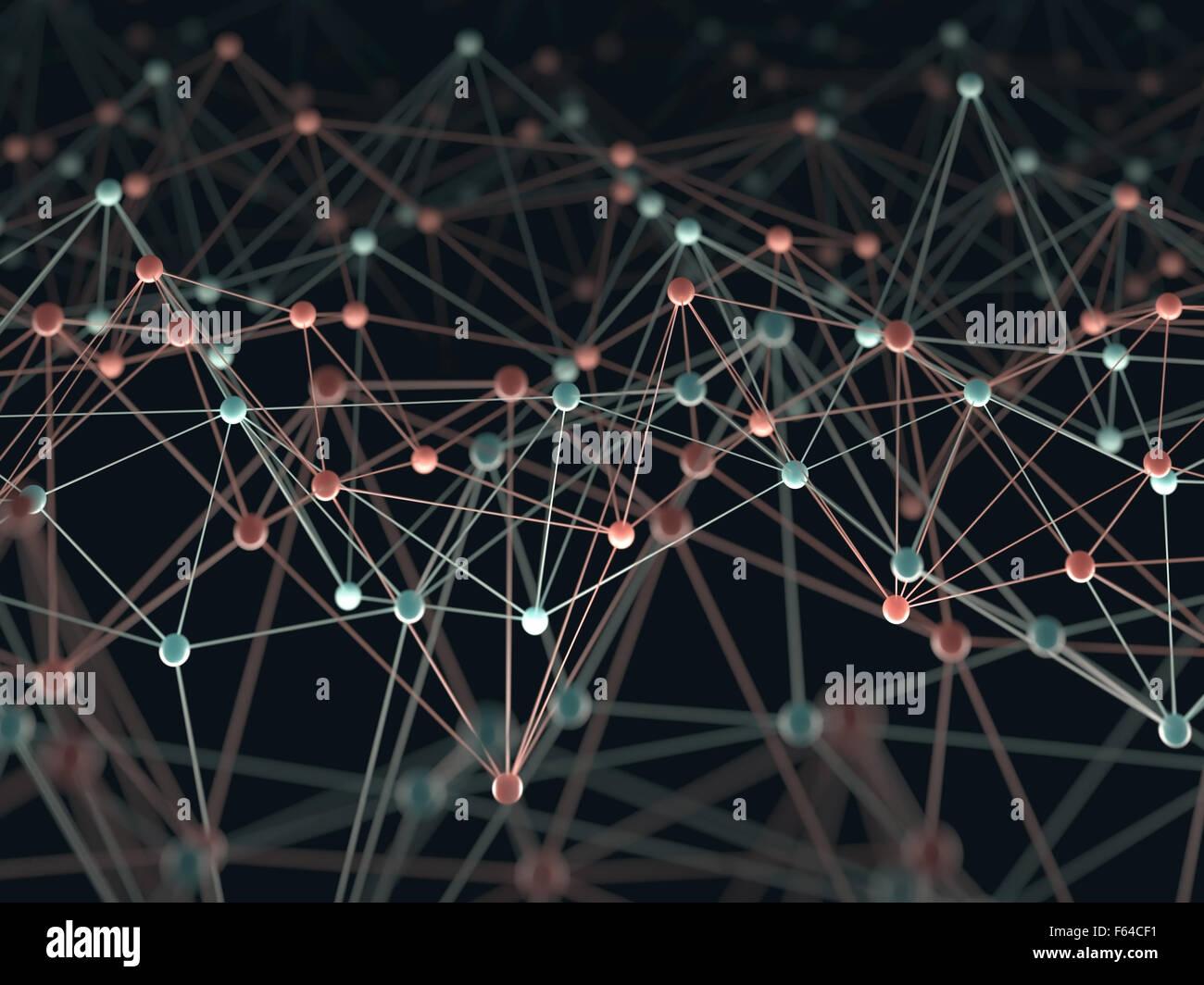 Résumé fond avec des points et des connexions liées entre elles dans un concept de réseau. Photo Stock