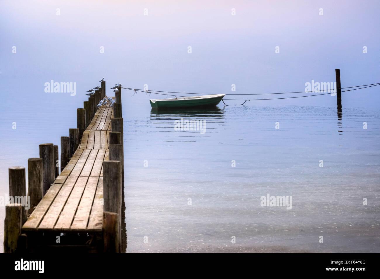 Une vieille jetée en bois avec des mouettes et un bateau à rames Photo Stock