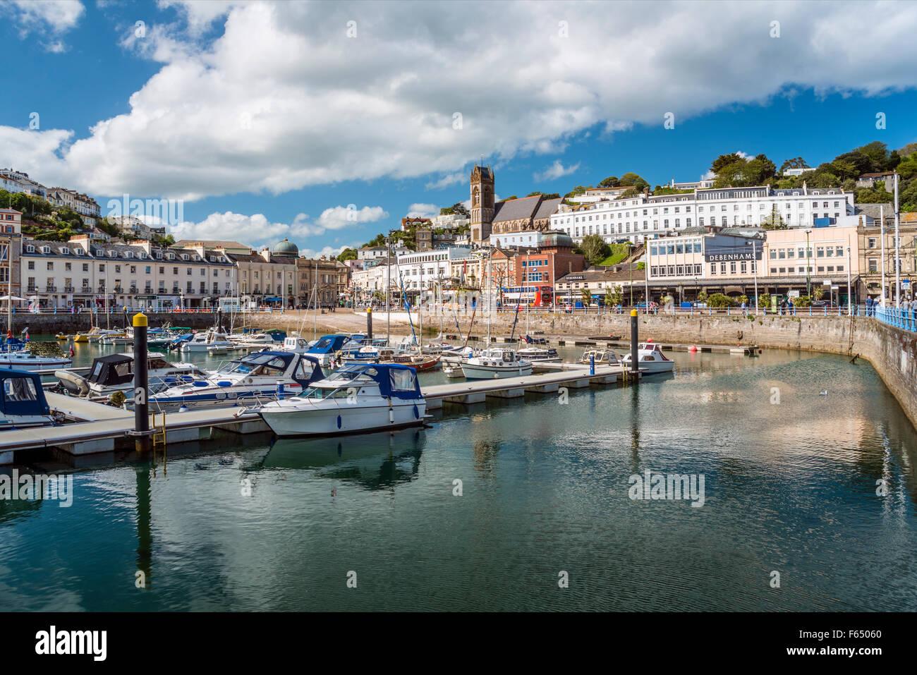 Sur le port et port de plaisance de Torquay, Torbay, England, UK   Aussicht über den Hafen und Marina von Torquay Photo Stock