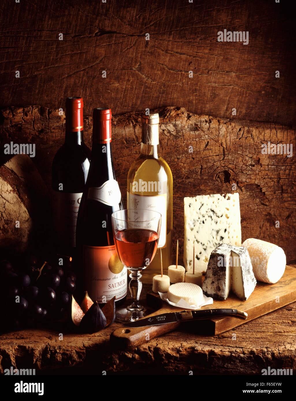 Vins et fromages Banque D'Images