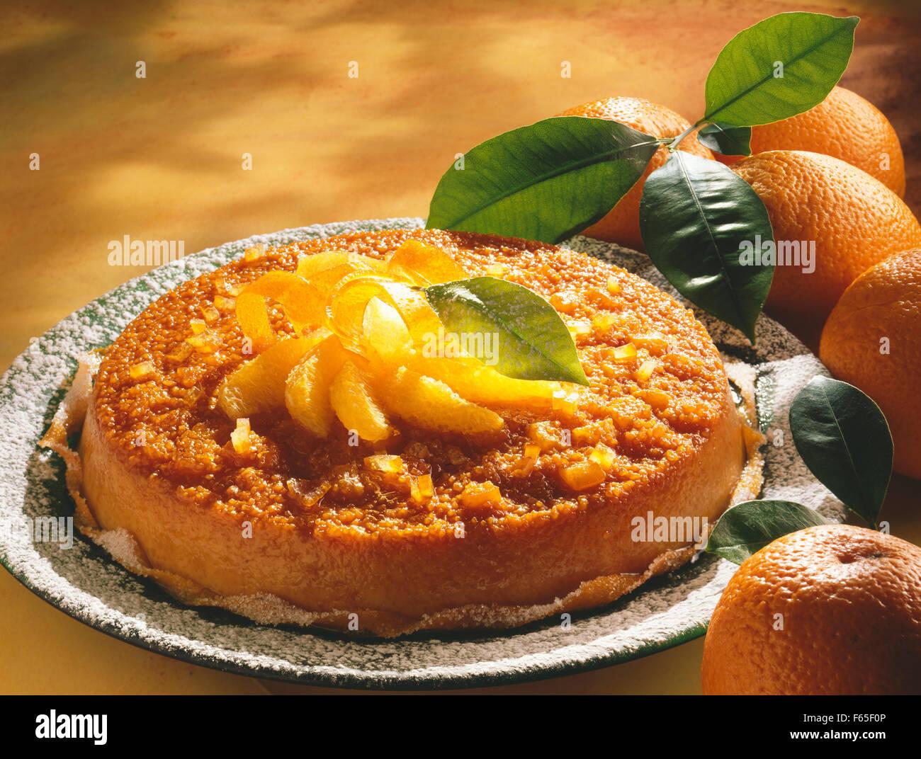 Gâteau de semoule Orange Banque D'Images
