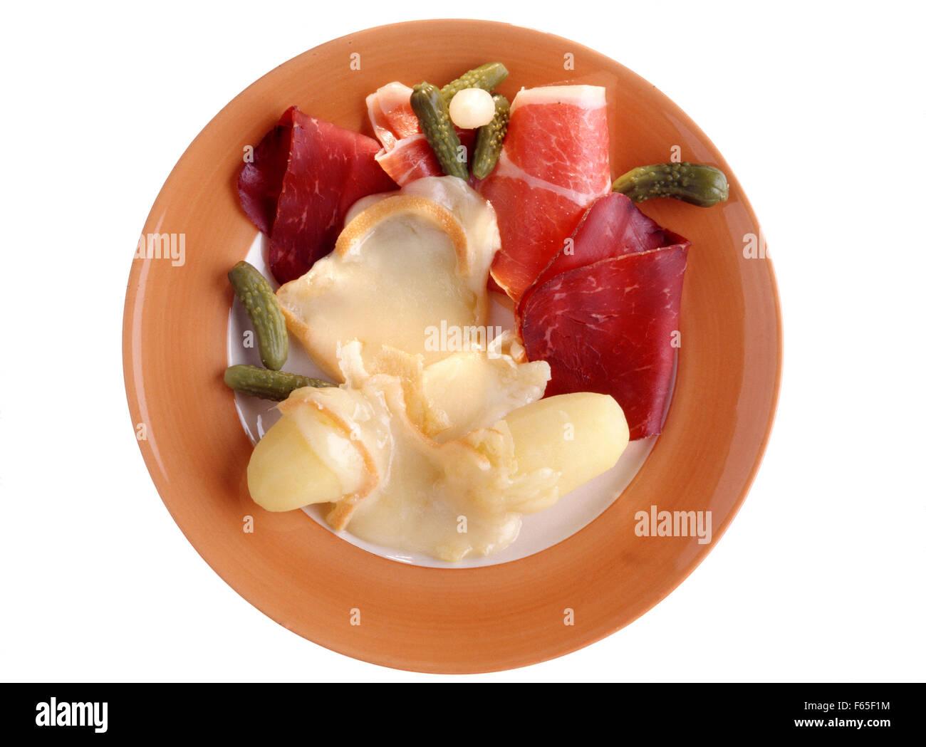 Assiette de raclette Banque D'Images