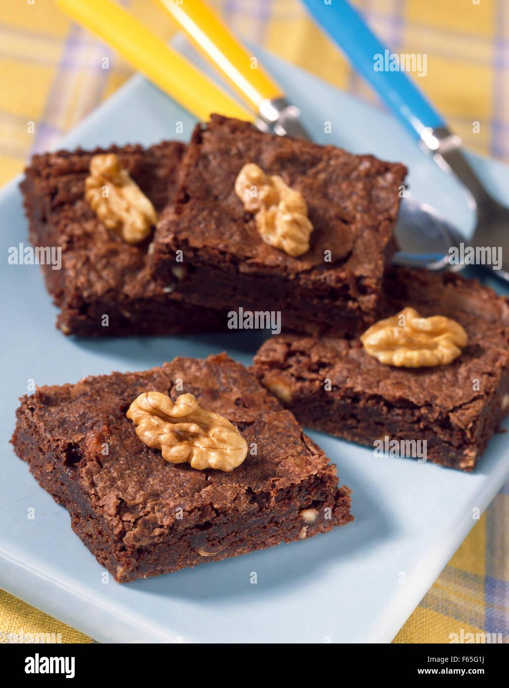 Brownies au chocolat et noix Banque D'Images
