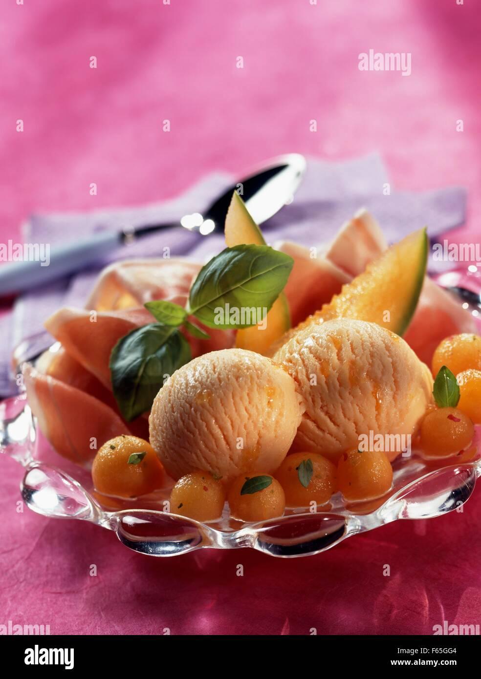 Sorbet au melon et jambon de Parme Banque D'Images
