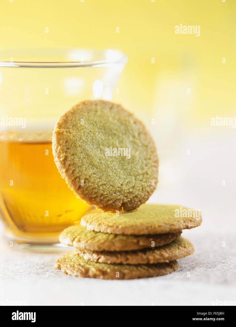 Sablés au thé vert Thé et Banque D'Images