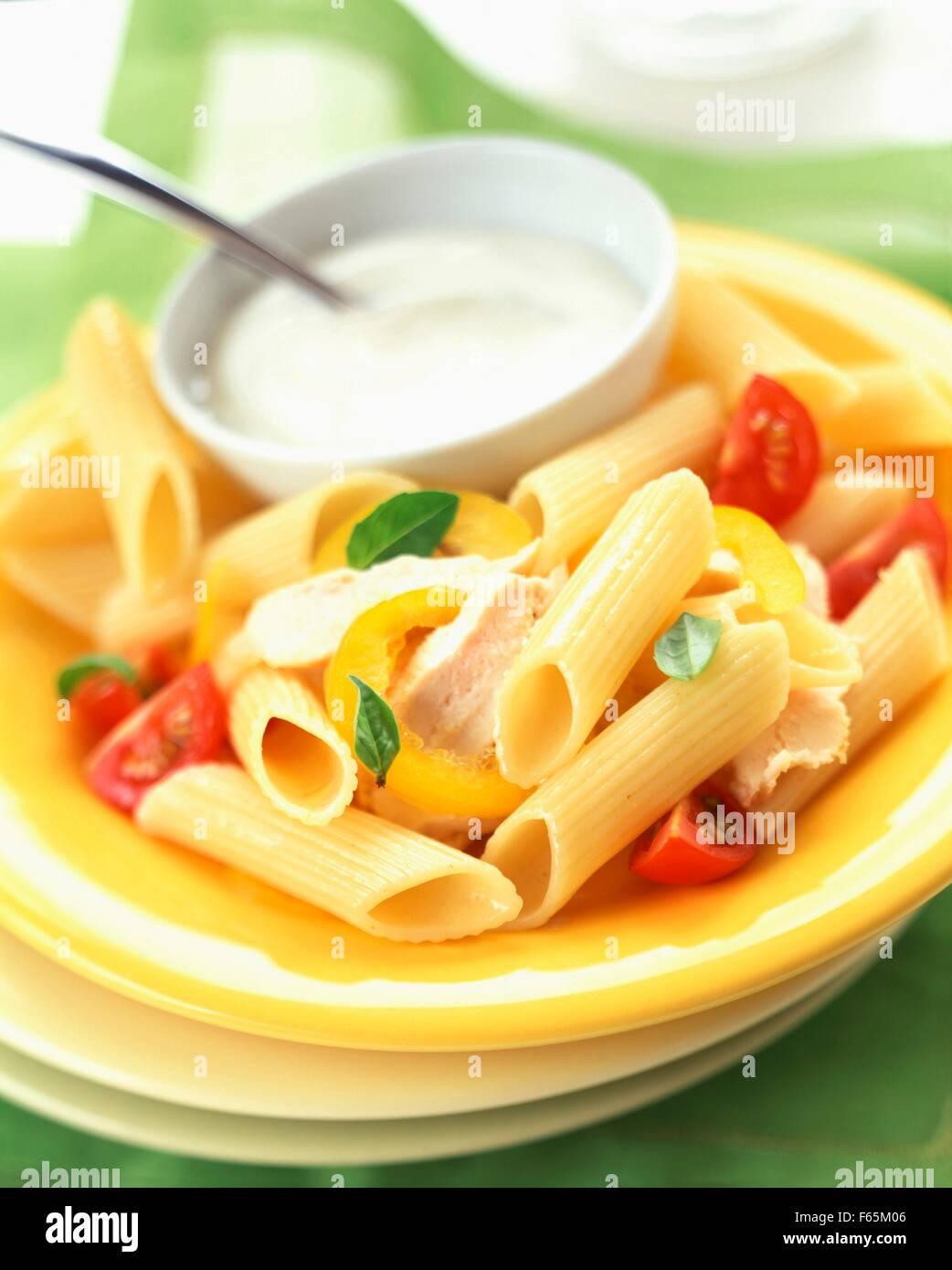 Pâtes Penne au poulet et sauce blanche Banque D'Images
