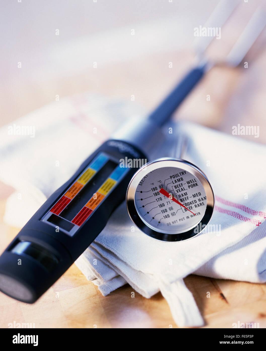 Thermomètre à viande Banque D'Images