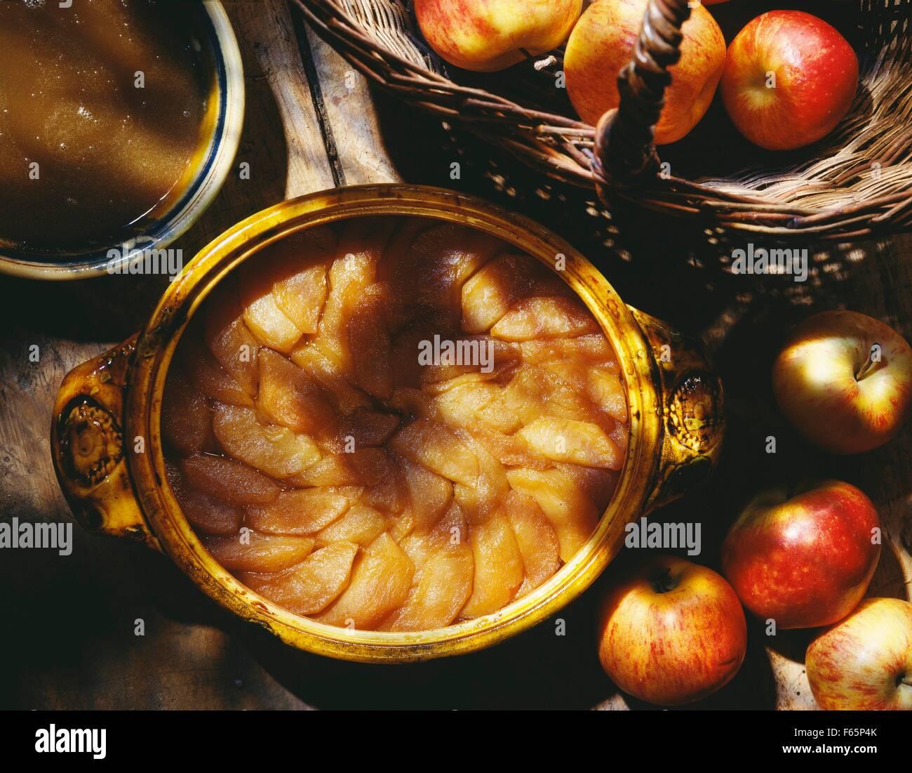 Tranches de pommes cuites Banque D'Images