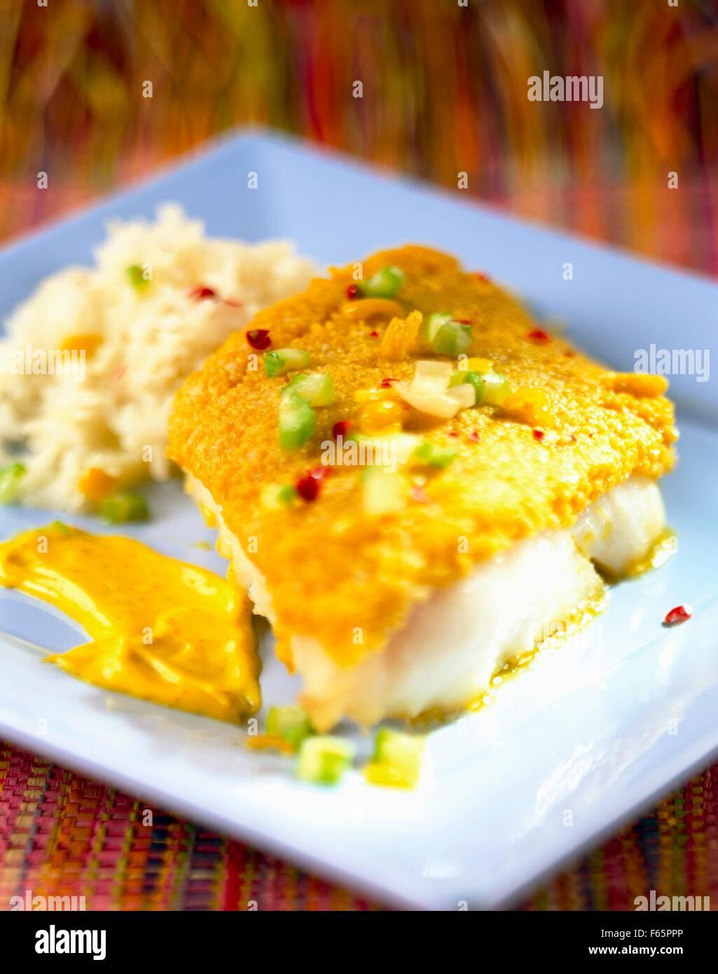 Poissons avec croûte de parmesan Banque D'Images