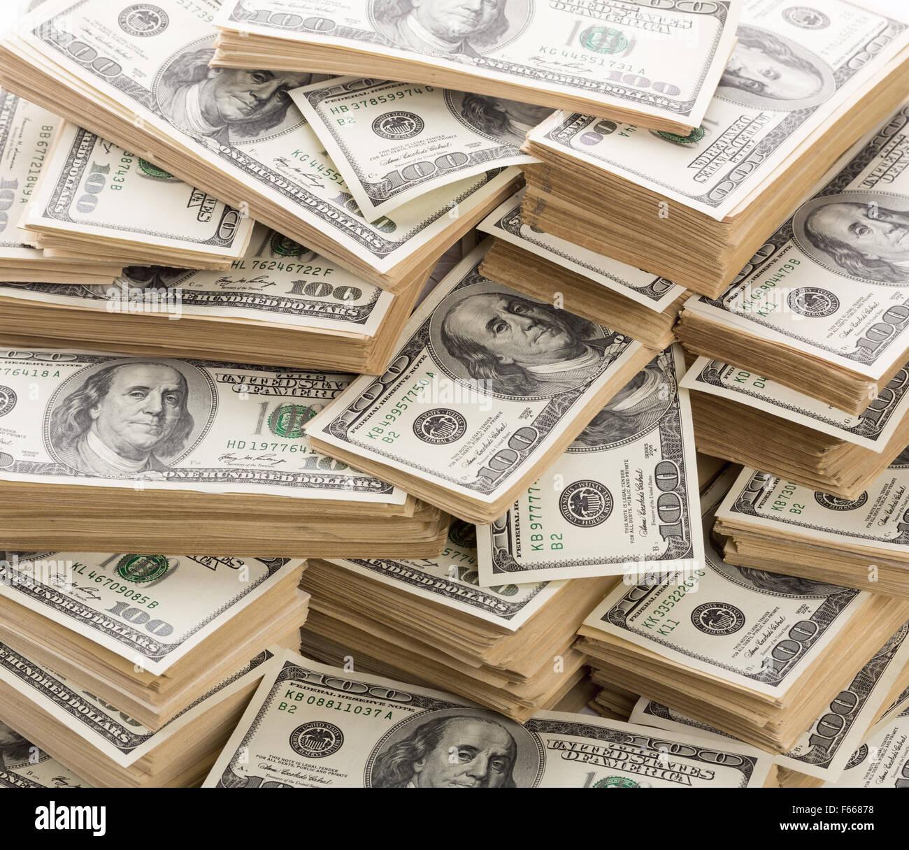Arrière-plan de pile de billets en dollars Photo Stock