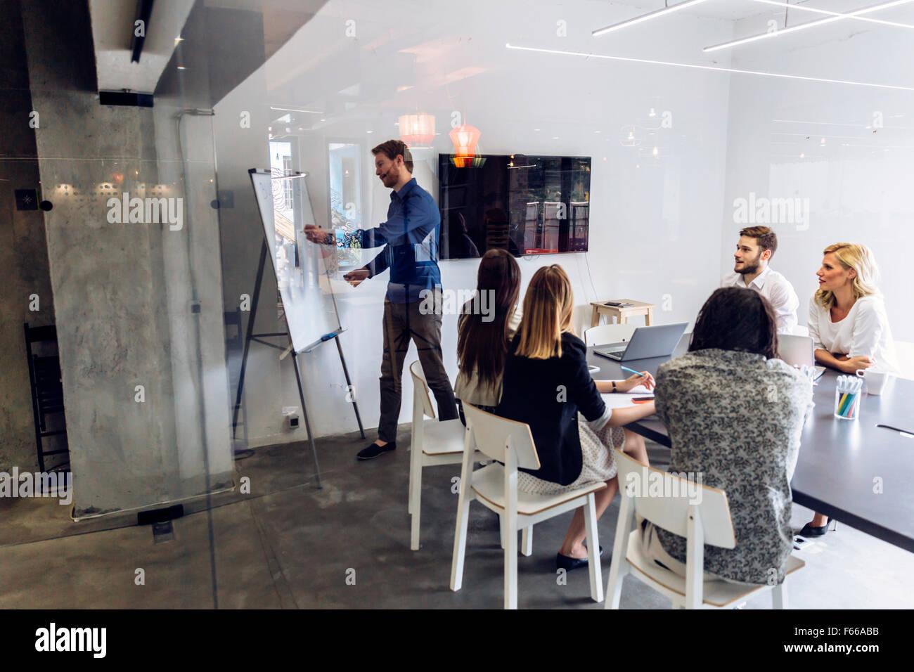 Groupe de collègues dans un bureau de brainstorming et de présentation Photo Stock