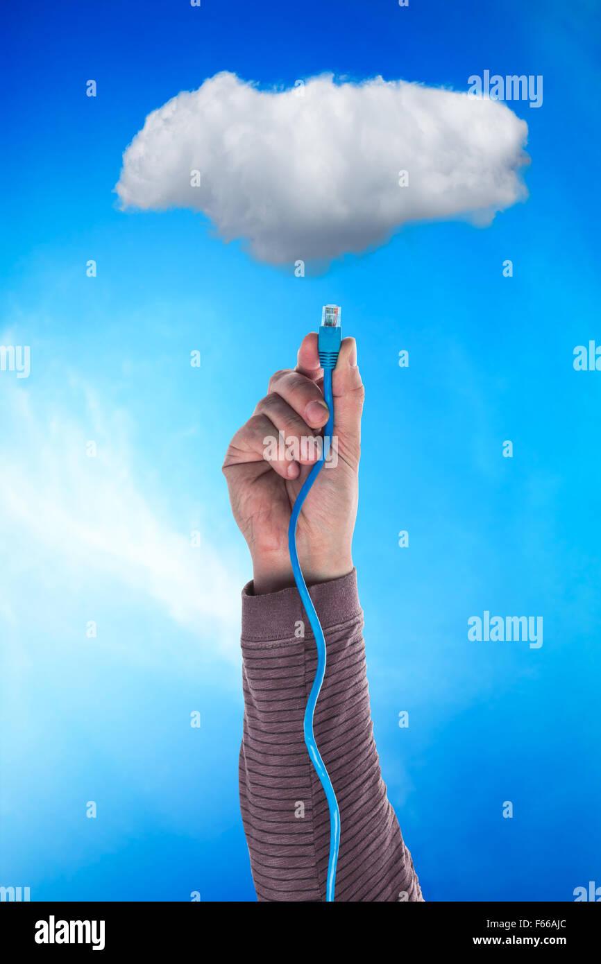 Cloud et un câble Photo Stock