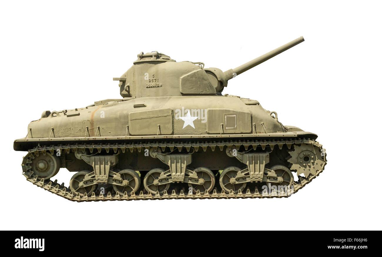 M-4A1 Sherman sur un fond blanc. Banque D'Images