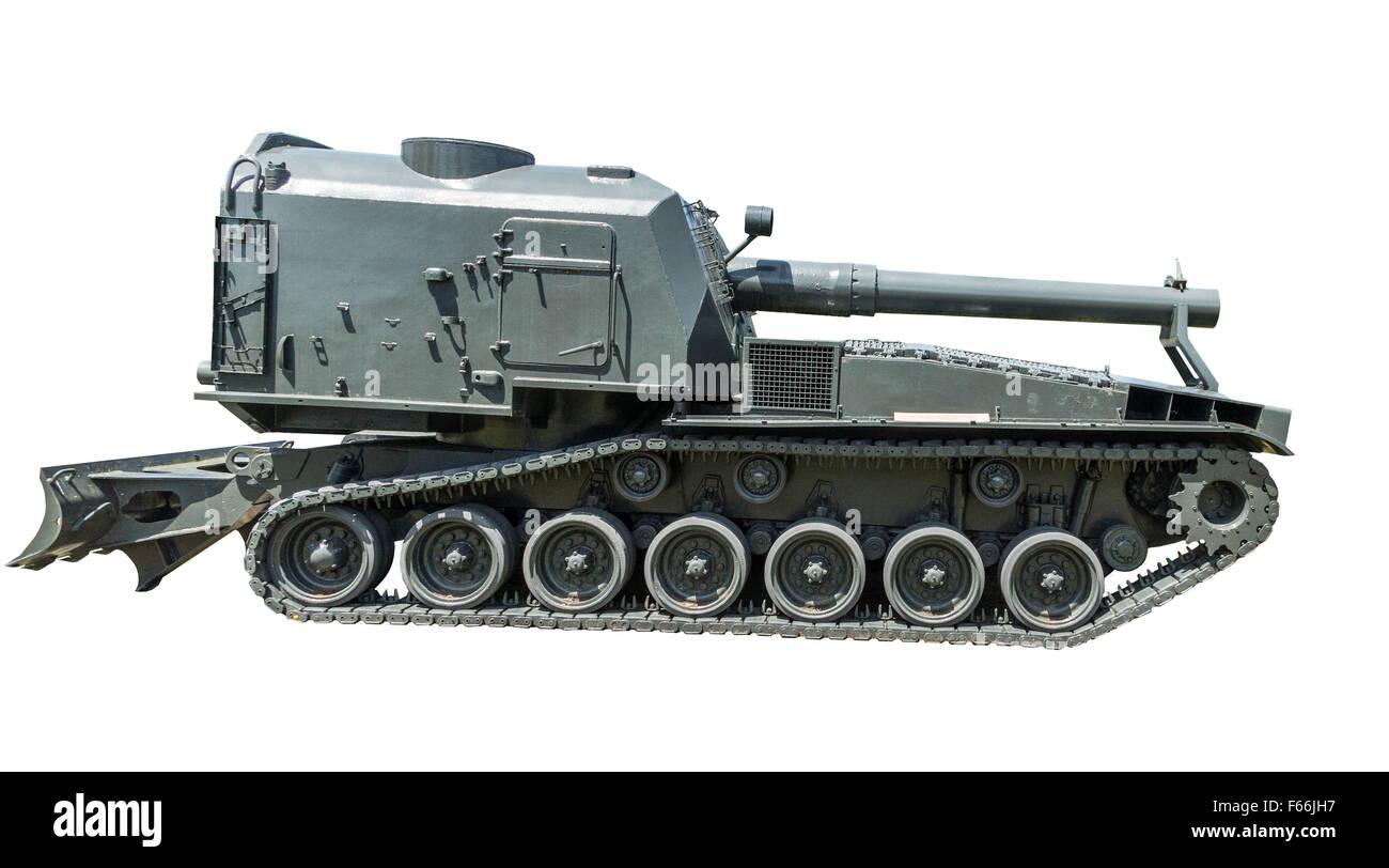 'M55' Heavy américain Obusier automoteur, l'obusier de 8 pouces, M47 sur un fond blanc. Banque D'Images