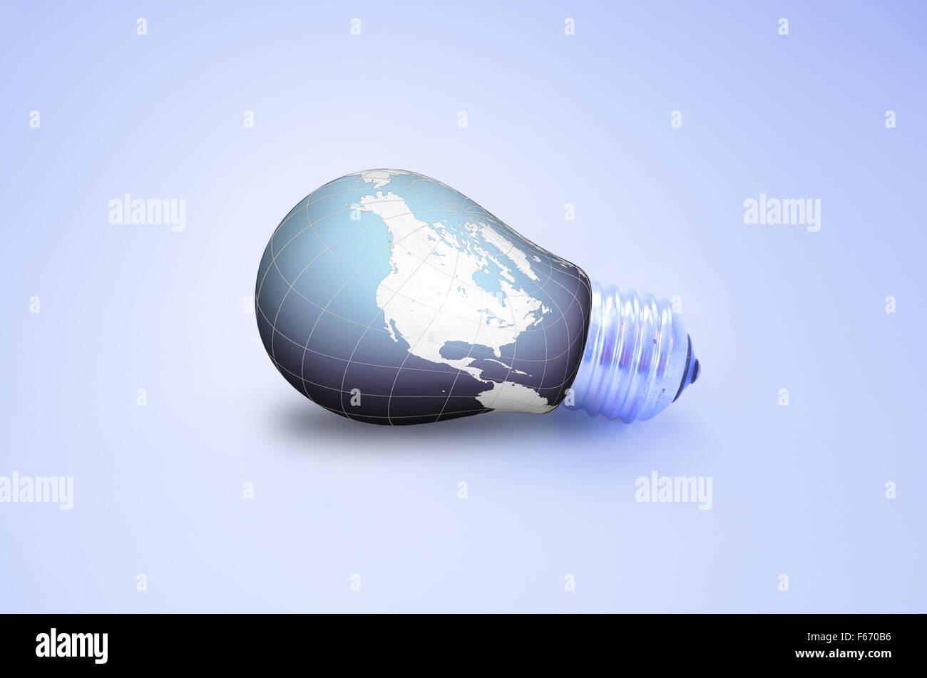 Ampoule monde isolé sur fond blanc Photo Stock