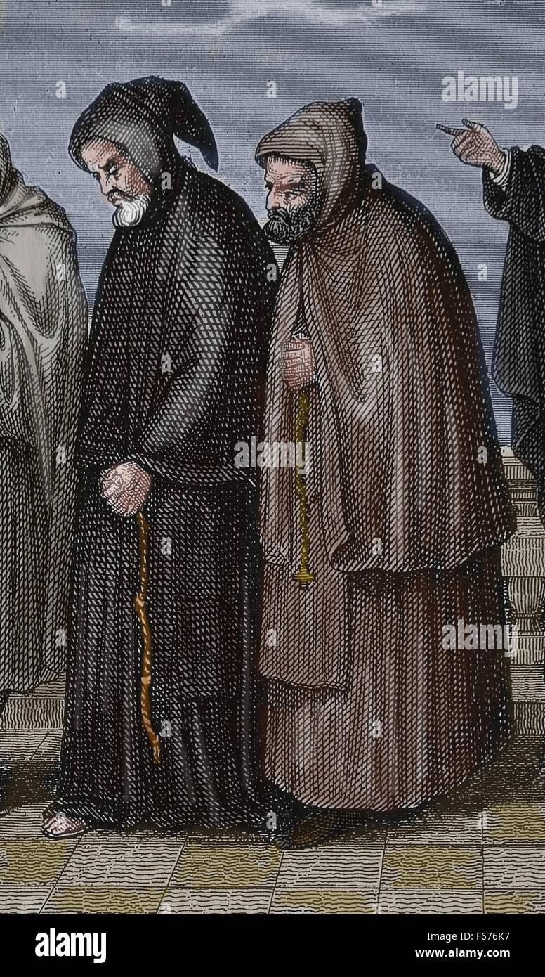 Ordre des Frères Mineurs Capucins. L'Église catholique. La gravure. L'âge moderne. Photo Stock