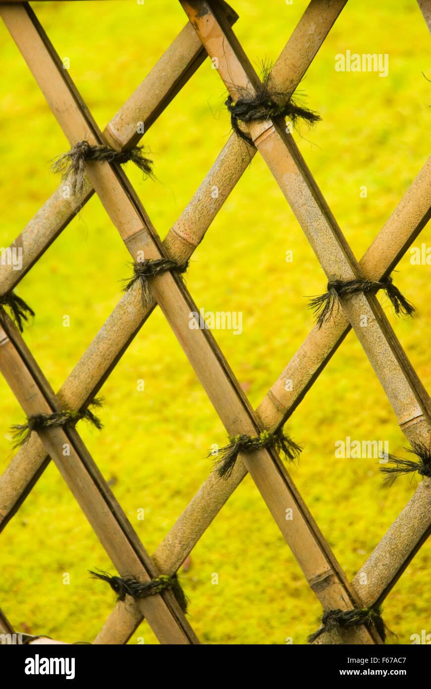Clôture de bambou, jardin japonais de Portland, Washington Park ...