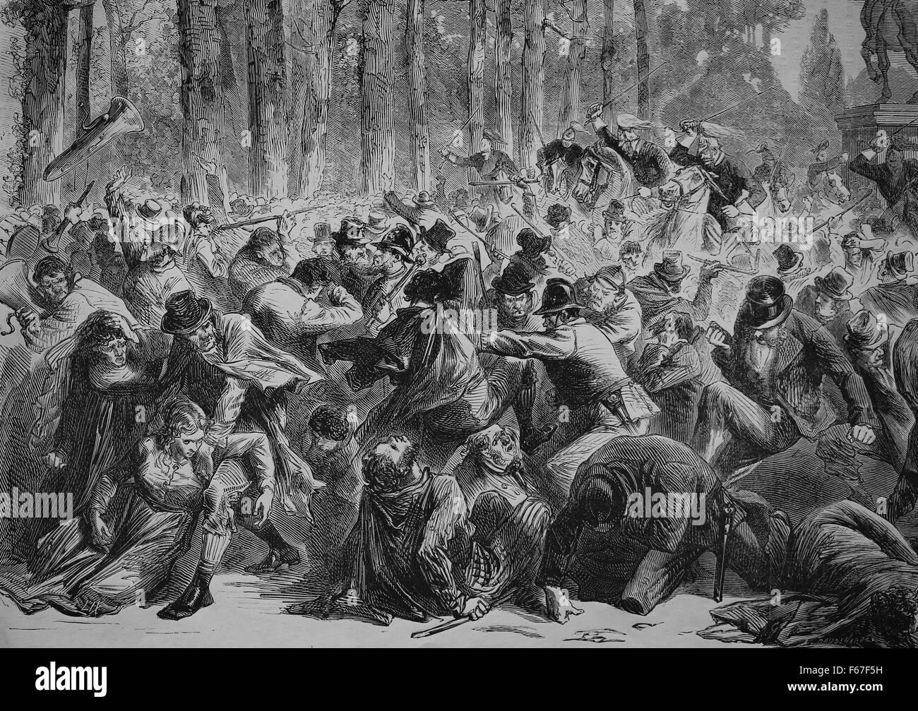 Le nationalisme irlandais. 19e siècle. L'Irlande. Scènes de la réunion de Phoenix Park de Dublin. Photo Stock