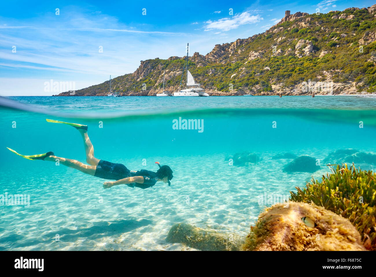 La plage de Roccapina, Corse, France Photo Stock