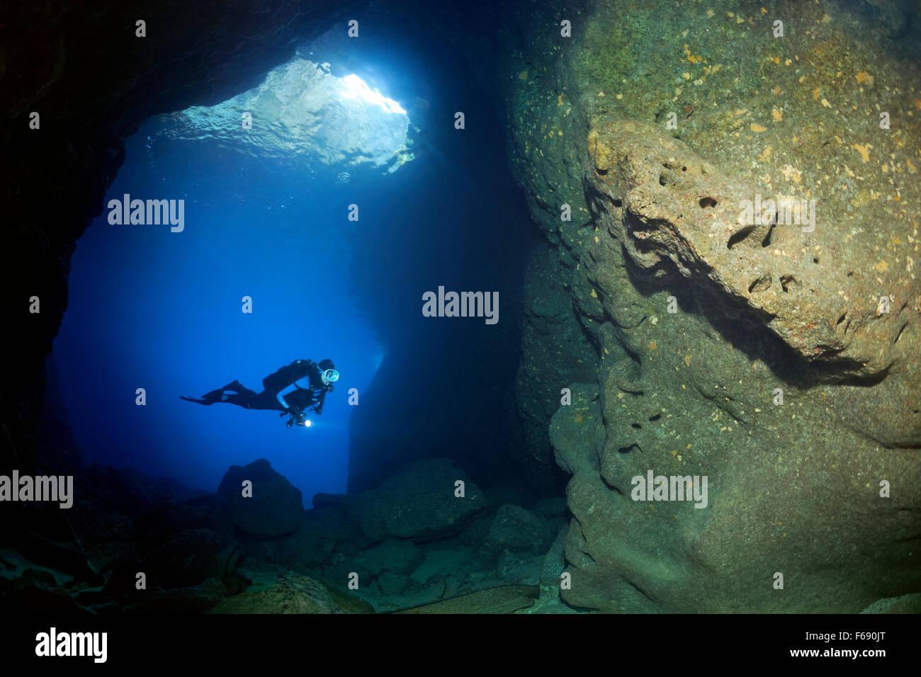 Avec lampe de plongée en grotte rocheuse, croissance clairsemée, éponges (Polifera), Corfou, îles Photo Stock