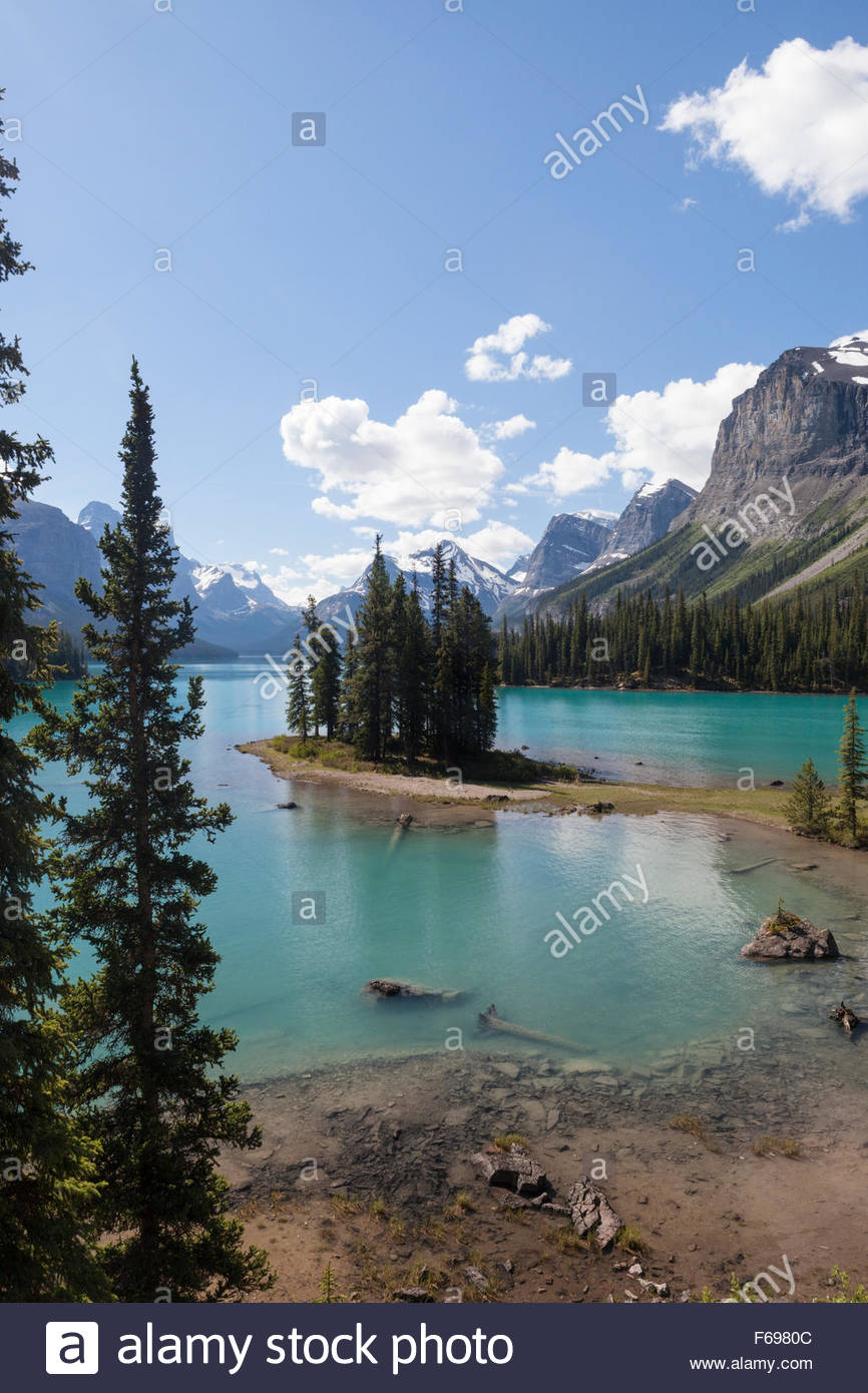 Île Spirit surplombent au lac Maligne, parc national Jasper, Alberta, Canada Photo Stock