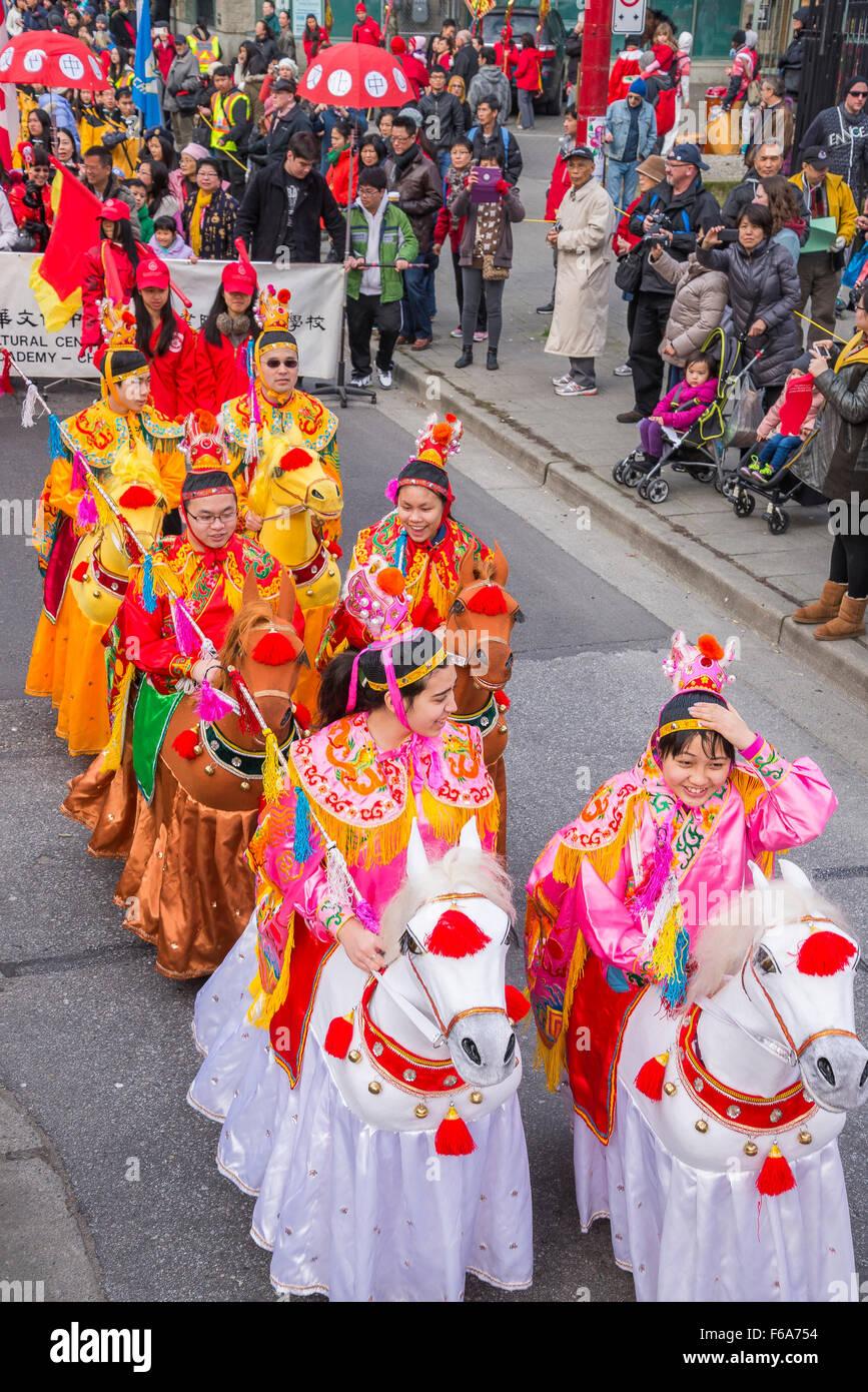 2014 Année du cheval, Parade du Nouvel An Chinois, Vancouver, British Columbia, Canada Photo Stock
