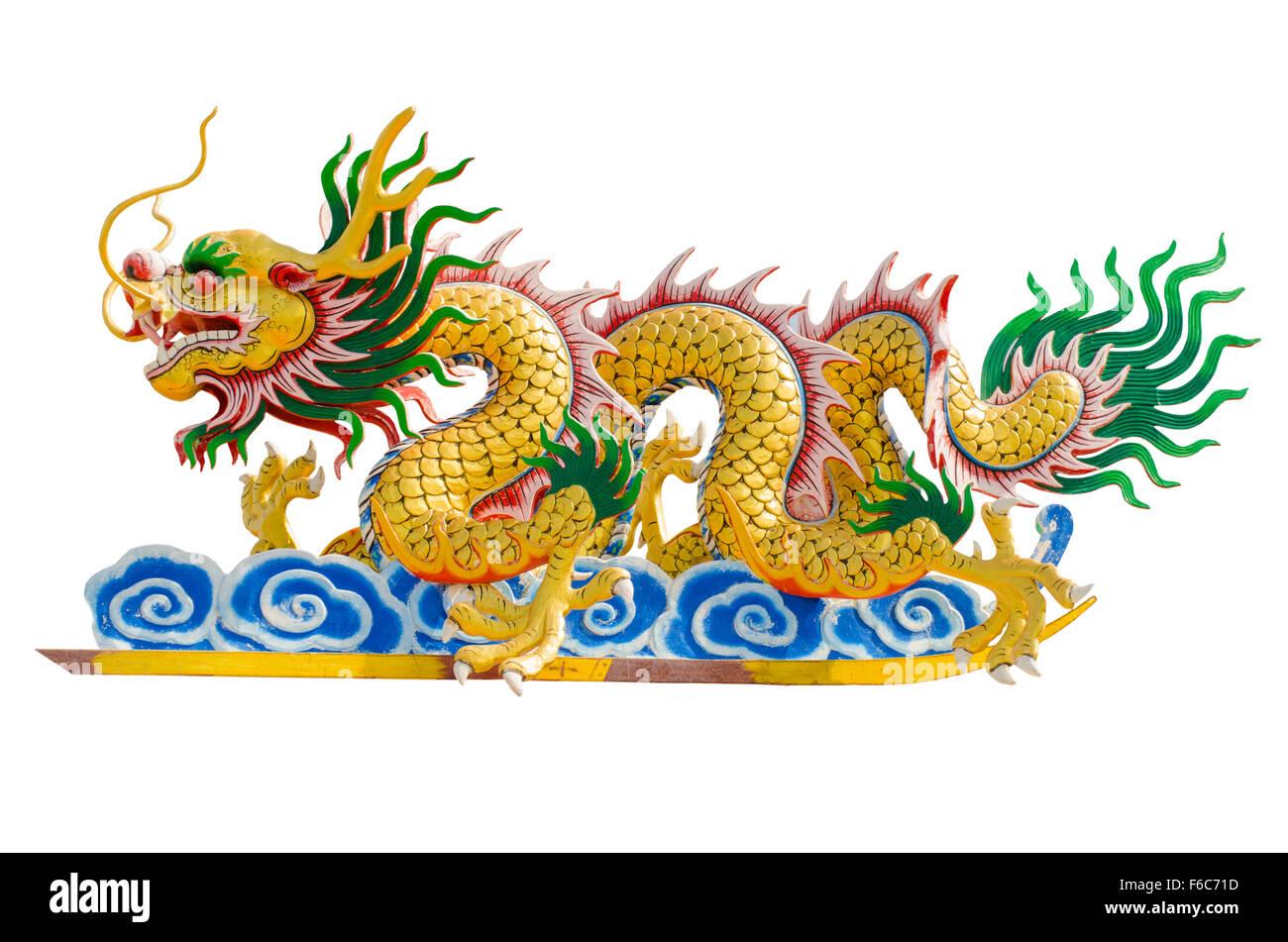 Image dragon chinois sur fonds blancs. Photo Stock