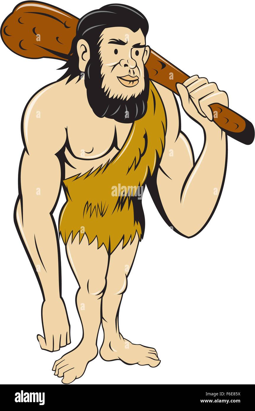 Illustration D Un Homme Des Cavernes Ou L Homme De Neandertal Debout