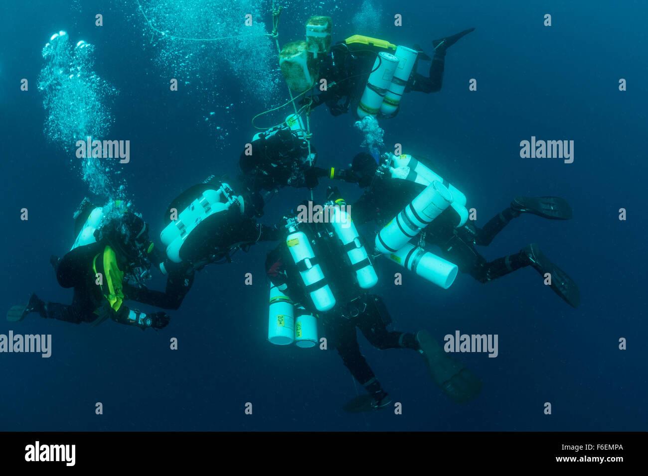 Groupe de plongeur Trimix, Pag, Croatie Photo Stock