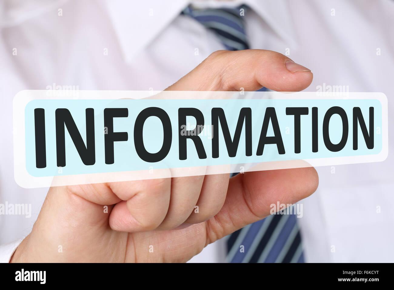 Businessman concept d'entreprise avec l'information info support aide Photo Stock