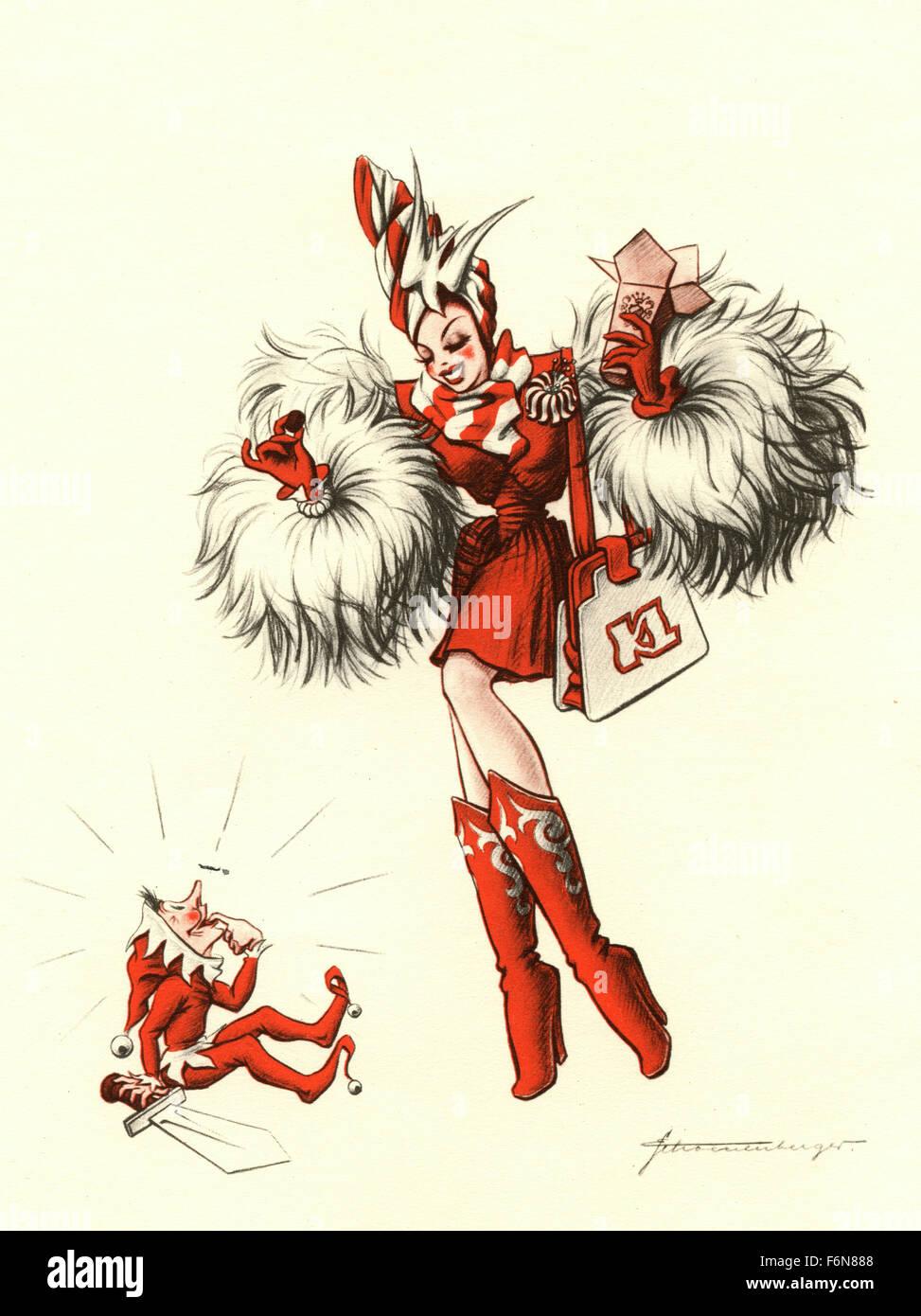 Illustrations satiriques allemand 1950: une femme avec un elfe Photo Stock