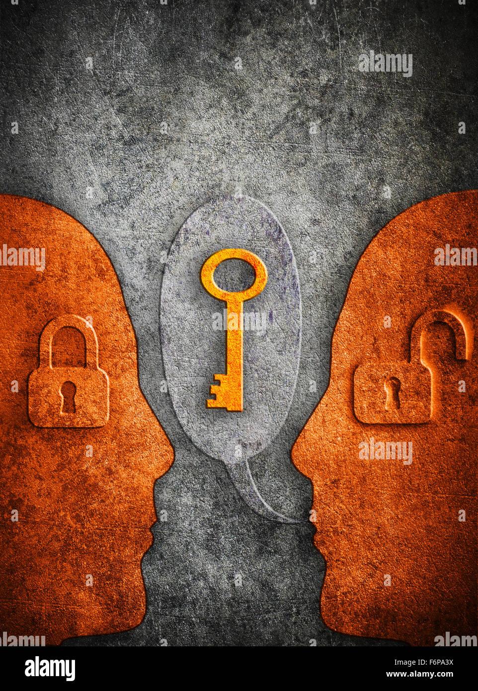 Illustration numérique connaissances concept avec cadenas silhouette humaine et copy space Photo Stock