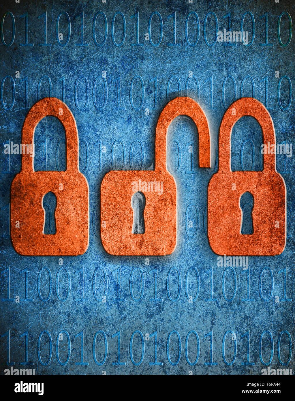 La sécurité numérique illustration numérique concept avec cadenas et copy space Photo Stock