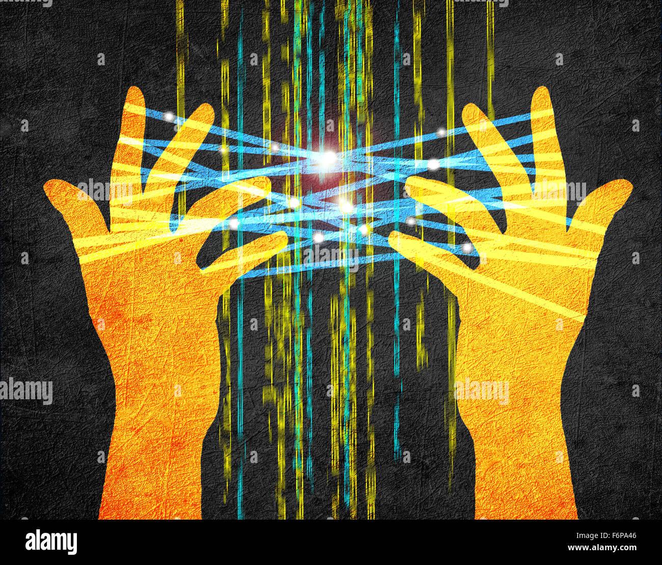 Concept internet illustration numérique avec les mains Photo Stock