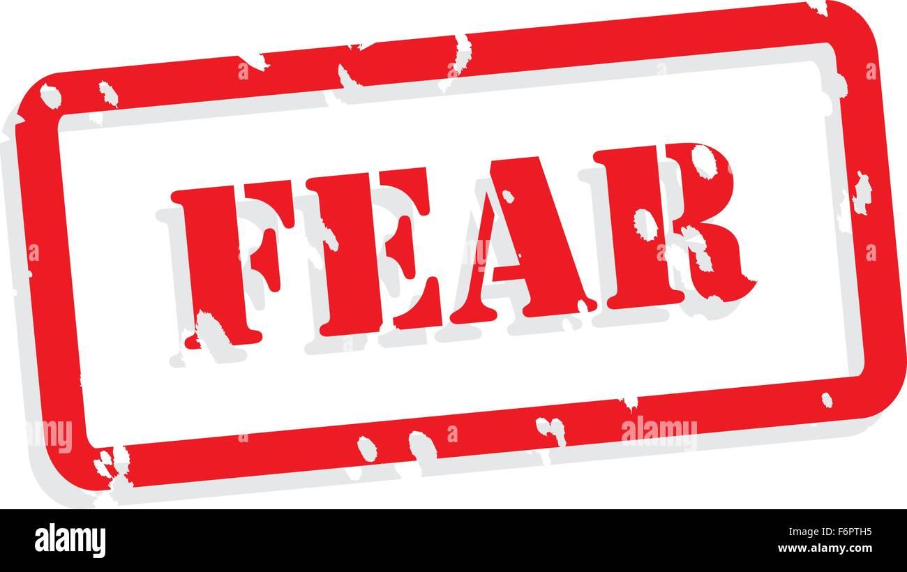 La peur de tampon en caoutchouc rouge vecteur pour concept de santé mentale Illustration de Vecteur