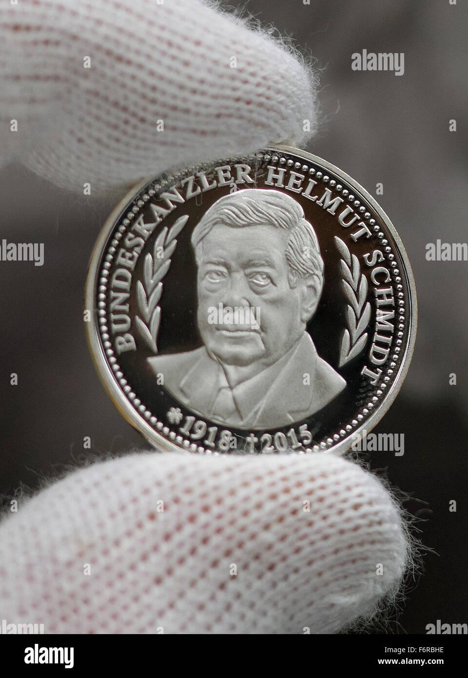 German Chancellor Helmut Schmidt Holds Photos German Chancellor