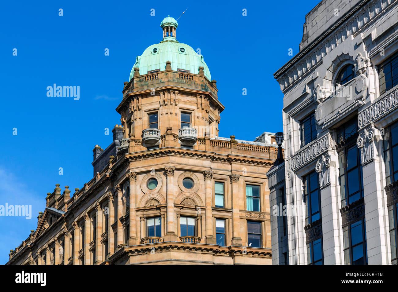 Dôme en cuivre au sommet du bâtiment du Fraser, à l'angle de la rue Argyle et de la rue Buchanan, dans le centre-ville de Glasgow, en Écosse, au Royaume-Uni Banque D'Images