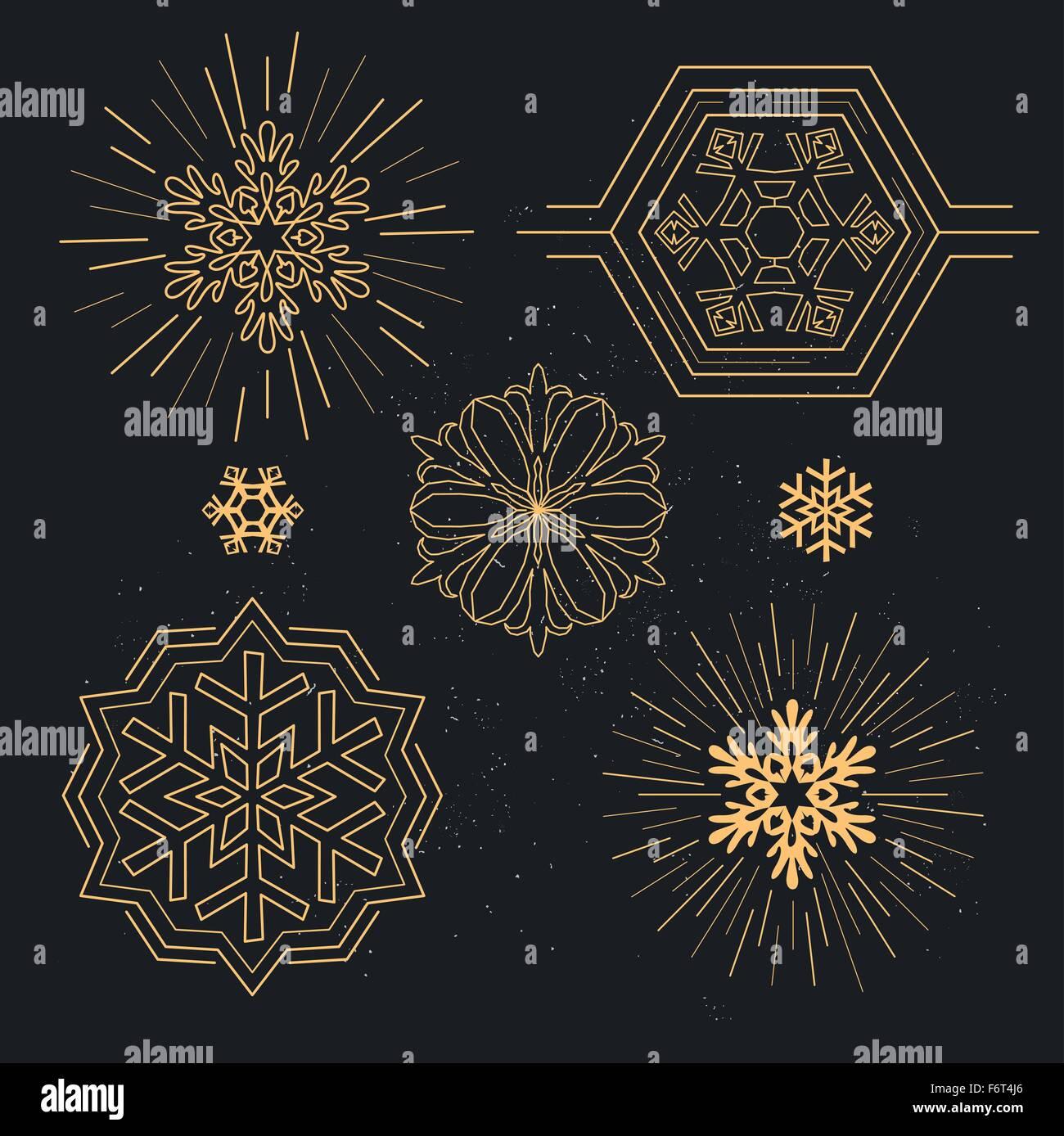 Modèles de flocon. Bordée géométrique des flocons de neige. Vector illustration. Photo Stock