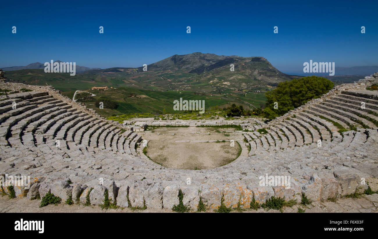 Ruines du Théâtre Grec de Ségeste, en Sicile, Italie Photo Stock