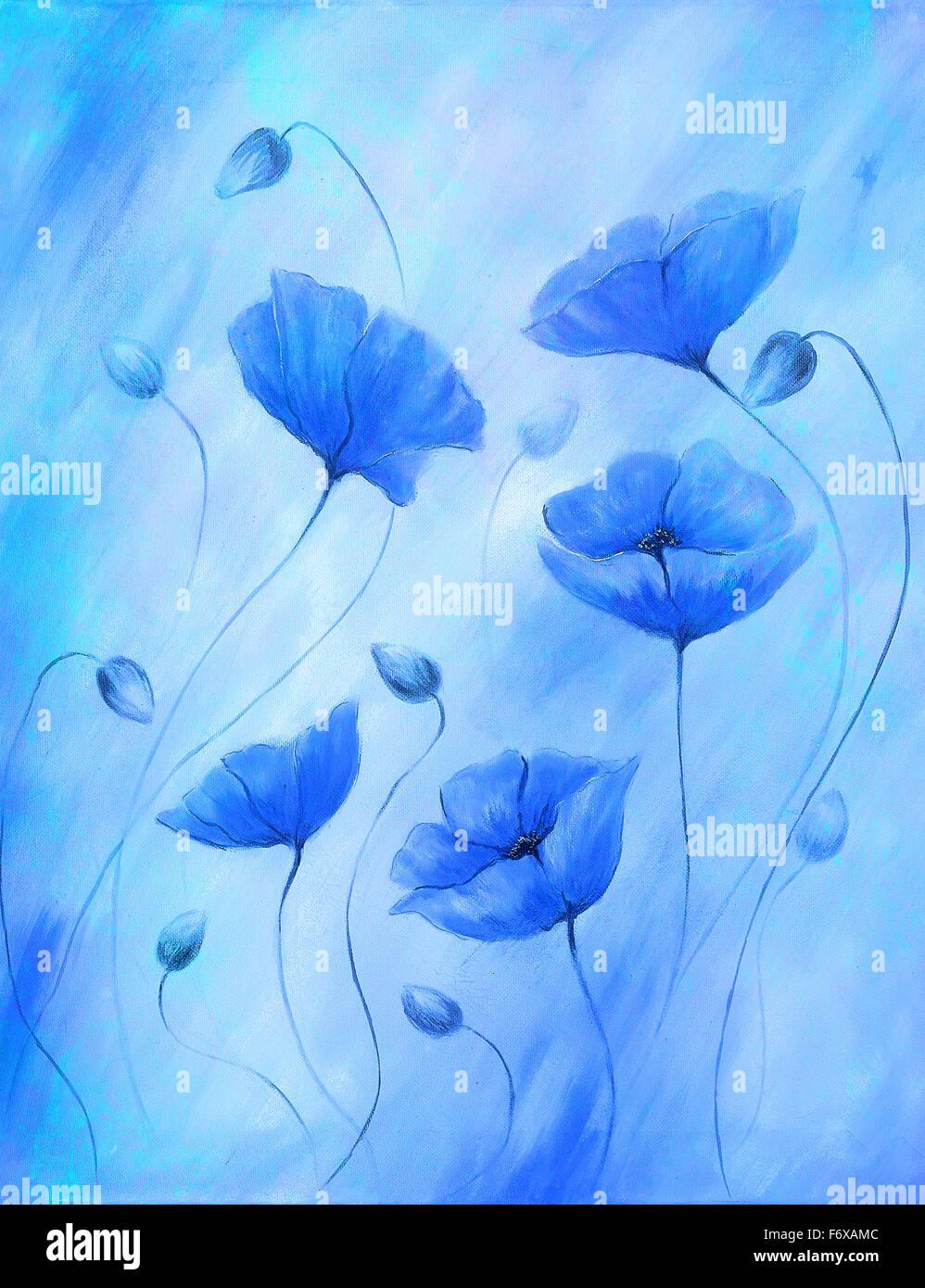 Le Pavot Bleu De Peinture Sur Un Fond De Couleur Fleur De Couleur