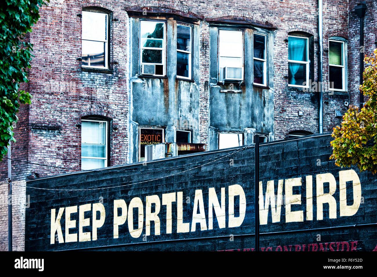 Un signe déclare le souhait de beaucoup portlanders à garder leur ville unique à Portland, Oregon. Photo Stock