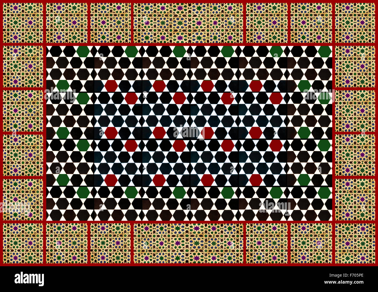 Conception géométrique mauresque carrelages - collage Photo Stock