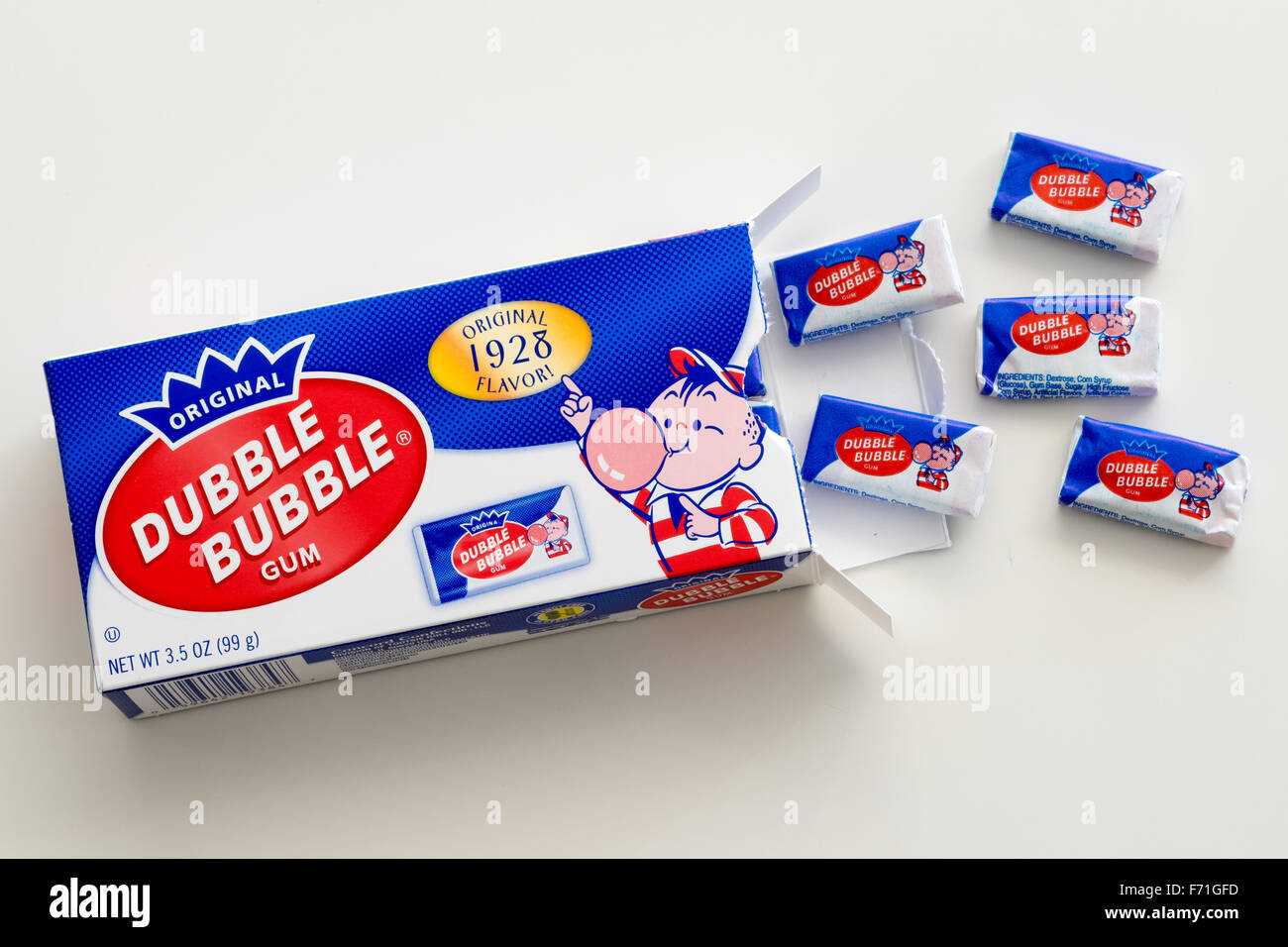 Une boîte de '1928' d'origine Double Bubble Gum. Photo Stock